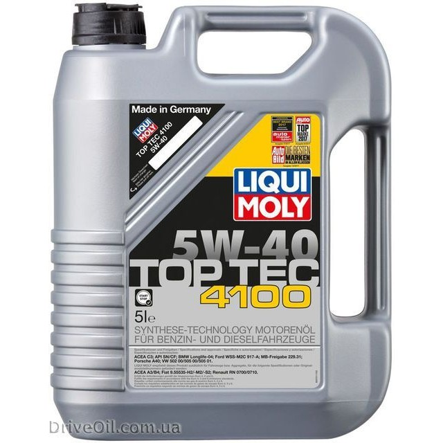 Моторное масло Liqui Moly Top Tec 4100 5W-40 5 л